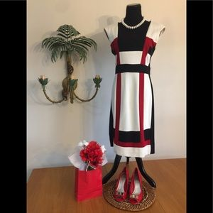 Maggie London Blk Wht Red Dress Sz8